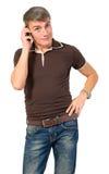 Άτομο που μιλά στο τηλέφωνο κυττάρων. στοκ εικόνα με δικαίωμα ελεύθερης χρήσης