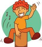 Άτομο που παίζει τα μουσικά κινούμενα σχέδια οργάνων Cajon ελεύθερη απεικόνιση δικαιώματος