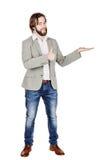 Άτομο που παρουσιάζει ή που παρουσιάζει σε κάτι το κείμενο ή προϊόν σας ανθρώπινος Στοκ Εικόνες