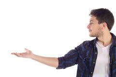 Άτομο που παρουσιάζει κάτι στο φοίνικα στοκ φωτογραφία με δικαίωμα ελεύθερης χρήσης