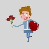 Άτομο που περπατά με μια ανθοδέσμη των τριαντάφυλλων Στοκ Εικόνες