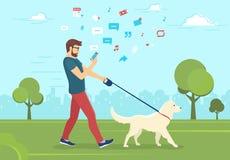 Άτομο που περπατά με το σκυλί υπαίθρια στο πάρκο και που χρησιμοποιεί το smartphone για να διαβάσει τις ειδήσεις διανυσματική απεικόνιση