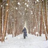 Άτομο που περπατά στο χειμερινό δάσος που καλύπτεται από το χιόνι κατά τη διάρκεια της χιονοθύελλας Στοκ Εικόνα