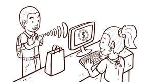 Άτομο που πληρώνει τα προϊόντα με το τηλέφωνο - μαύρο & άσπρο, έκδοση σκίτσων Στοκ φωτογραφία με δικαίωμα ελεύθερης χρήσης