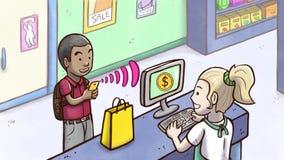 Άτομο που πληρώνει τα προϊόντα με το τηλέφωνο σε ένα κατάστημα Στοκ Εικόνες
