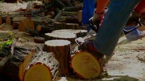 Άτομο που πριονίζει το ξύλινο αλυσιδοπρίονο φιλμ μικρού μήκους