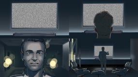 Άτομο που προσέχει τη TV κατάπληκτη Στοκ εικόνες με δικαίωμα ελεύθερης χρήσης