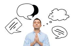 Άτομο που προσεύχεται στο Θεό με τη φυσαλίδα κειμένων doodles Στοκ Φωτογραφία