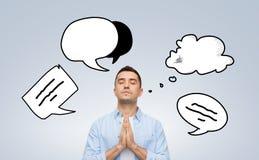 Άτομο που προσεύχεται στο Θεό με τη φυσαλίδα κειμένων doodles Στοκ Φωτογραφίες