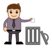 Άτομο που ρίχνει τα απορρίματα στα απορρίμματα απεικόνιση αποθεμάτων