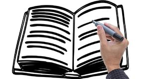 Άτομο που σκιαγραφεί το βιβλίο/τις σημειώσεις/γαλακτοκομείο για το υπόβαθρο whiteboard φιλμ μικρού μήκους