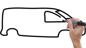 Άτομο που σκιαγραφεί το φορτηγό/το λεωφορείο στο υπόβαθρο whiteboard απόθεμα βίντεο