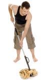 Άτομο που στέκεται με το χέρι στη σφουγγαρίστρα Στοκ Φωτογραφίες