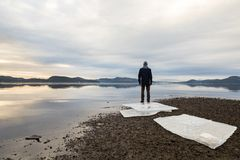 Άτομο που στέκεται στην παραλία, επιπλέοντες πάγοι πάγου στη σκοτεινή άμμο, την ήρεμη θάλασσα, την υδρονέφωση και την ομίχλη Hamr στοκ φωτογραφία με δικαίωμα ελεύθερης χρήσης