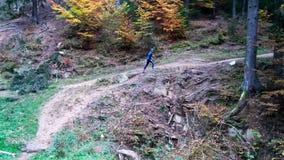 Άτομο που τρέχει στα ξύλα απόθεμα βίντεο