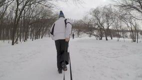 Άτομο που τραβά το κορίτσι ή το παιδί σε ένα έλκηθρο στο χιόνι απόθεμα βίντεο