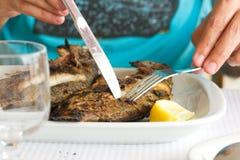 Άτομο που τρώει τα ψημένα στη σχάρα ψάρια στοκ εικόνα