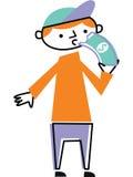 Άτομο που τρώει το λογαριασμό δολαρίων Στοκ Εικόνα