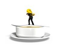 Άτομο που φέρνει την ευρο- εξισορρόπηση σημαδιών στο κουτάλι με το κύπελλο σούπας Στοκ Φωτογραφία