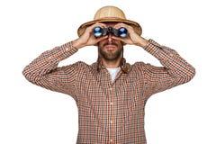 Άτομο που φαίνεται διόπτρες με το ταξιδιωτικό καπέλο που απομονώνεται άνω της λευκιάς ΤΣΕ στοκ εικόνες με δικαίωμα ελεύθερης χρήσης