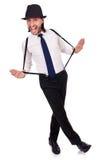 Άτομο που φορούν το καπέλο και suspenders που απομονώνονται στο λευκό Στοκ Εικόνες