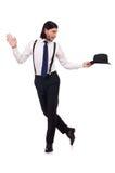 Άτομο που φορούν το καπέλο και suspenders που απομονώνονται στο λευκό Στοκ Φωτογραφίες