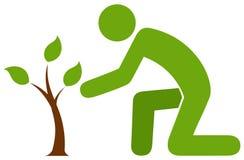 Άτομο που φροντίζει για λίγο δέντρο Στοκ φωτογραφίες με δικαίωμα ελεύθερης χρήσης