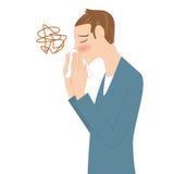Άτομο που φυσά τη μύτη του διανυσματική απεικόνιση
