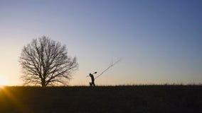 Άτομο που φυτεύει το δέντρο στον τομέα Ηλιόλουστη ανατολή, ηλιοβασίλεμα σκιαγραφία Άνοιξη ή καλοκαίρι απόθεμα βίντεο