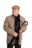 άτομο που χαμογελά τη μοντέρνη ομπρέλα Στοκ εικόνες με δικαίωμα ελεύθερης χρήσης