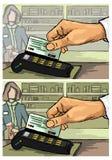 Άτομο που χρησιμοποιεί την κάρτα Στοκ εικόνα με δικαίωμα ελεύθερης χρήσης