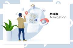 Άτομο που χρησιμοποιεί τη ναυσιπλοΐα app στο κινητό τηλέφωνο επιχείρηση, τεχνολογία, ναυσιπλοΐα, θέση και έννοια ανθρώπων ελεύθερη απεικόνιση δικαιώματος