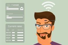 Άτομο που χρησιμοποιεί τις επικεφαλής-τοποθετημένες τεχνολογίες υλικού απεικόνιση αποθεμάτων