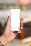 Άτομο που χρησιμοποιεί το κινητό τηλέφωνο στο πάρκο Στοκ φωτογραφίες με δικαίωμα ελεύθερης χρήσης