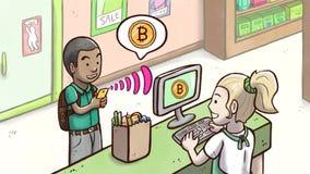 Άτομο που χρησιμοποιεί το τηλέφωνο για να πληρώσει με το cryptocurrency Bitcoin σε ένα κατάστημα παντοπωλείων Στοκ φωτογραφίες με δικαίωμα ελεύθερης χρήσης