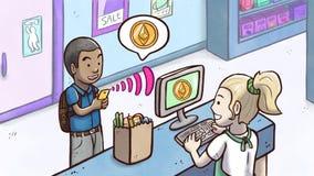 Άτομο που χρησιμοποιεί το τηλέφωνο για να πληρώσει με το cryptocurrency Ethereum σε ένα κατάστημα παντοπωλείων Στοκ Εικόνες