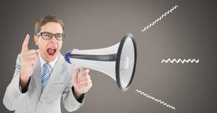άτομο που χρησιμοποιεί megaphone με τις απεικονίσεις Στοκ εικόνες με δικαίωμα ελεύθερης χρήσης