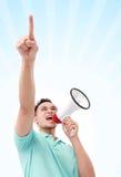Άτομο που χρησιμοποιεί megaphone Στοκ Φωτογραφία