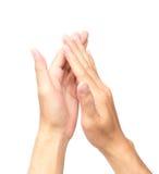 Άτομο που χτυπά τα χέρια στο άσπρο υπόβαθρο Στοκ Εικόνες