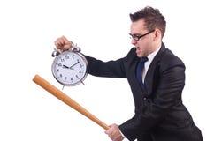 Άτομο που χτυπά το ρολόι με το ρόπαλο του μπέιζμπολ που απομονώνεται Στοκ εικόνα με δικαίωμα ελεύθερης χρήσης