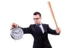 Άτομο που χτυπά το ρολόι με το ρόπαλο του μπέιζμπολ που απομονώνεται Στοκ φωτογραφία με δικαίωμα ελεύθερης χρήσης