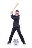 Άτομο που χτυπά το ρολόι με το ρόπαλο του μπέιζμπολ που απομονώνεται Στοκ Εικόνες