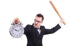 Άτομο που χτυπά το ρολόι με το ρόπαλο του μπέιζμπολ που απομονώνεται Στοκ Φωτογραφίες
