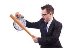 Άτομο που χτυπά το ρολόι με το ρόπαλο του μπέιζμπολ Στοκ Εικόνα