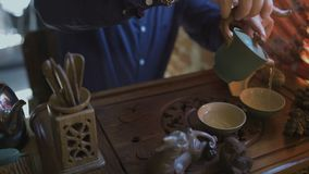 Άτομο που χύνει το πράσινο τσάι από Teapot σε Gaiwan στην τελετή τσαγιού παραδοσιακού κινέζικου απόθεμα βίντεο
