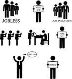 Άτομο που ψάχνει την απασχόληση και τη συνέντευξη Cliparts εργασίας απεικόνιση αποθεμάτων