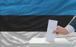 Άτομο που ψηφίζει για τις εκλογές στην Εσθονία Στοκ Εικόνες