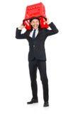 Άτομο που ψωνίζει με το κάρρο καλαθιών υπεραγορών Στοκ φωτογραφία με δικαίωμα ελεύθερης χρήσης