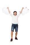 Άτομο που ψωνίζει με το κάρρο καλαθιών υπεραγορών Στοκ Εικόνες