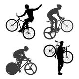 Άτομο ποδηλατών και σταθερό ποδήλατο εργαλείων Στοκ Φωτογραφίες